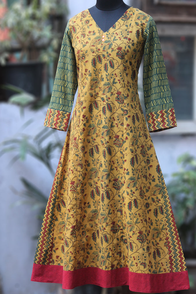 a-line anarkali - golden lagoon & the twirling tendrils