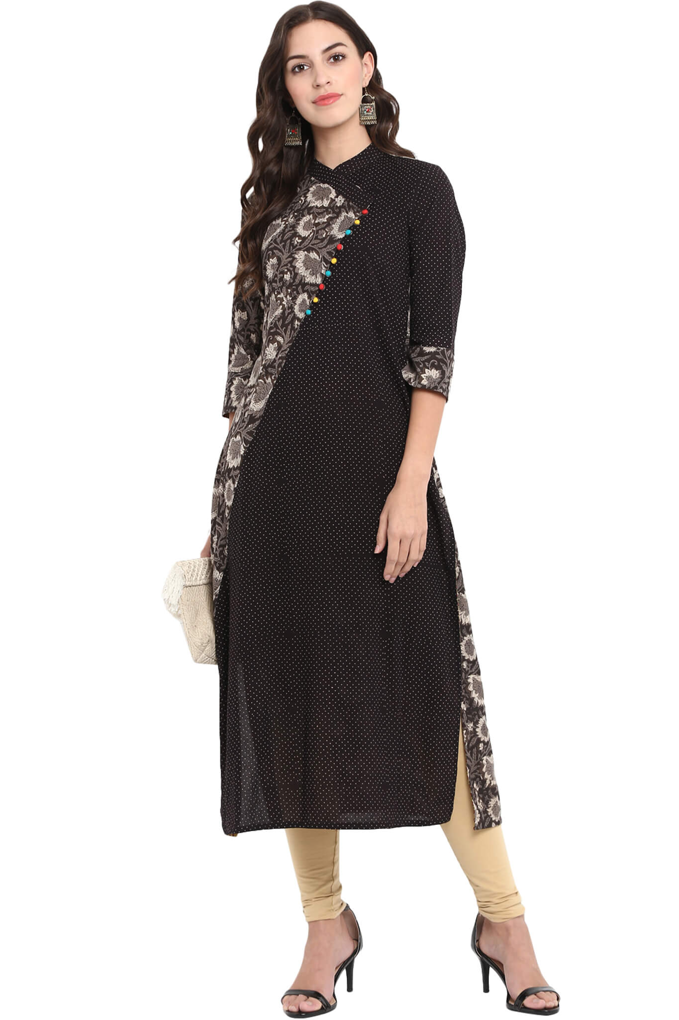 cross potli kurta - white lillies by the night