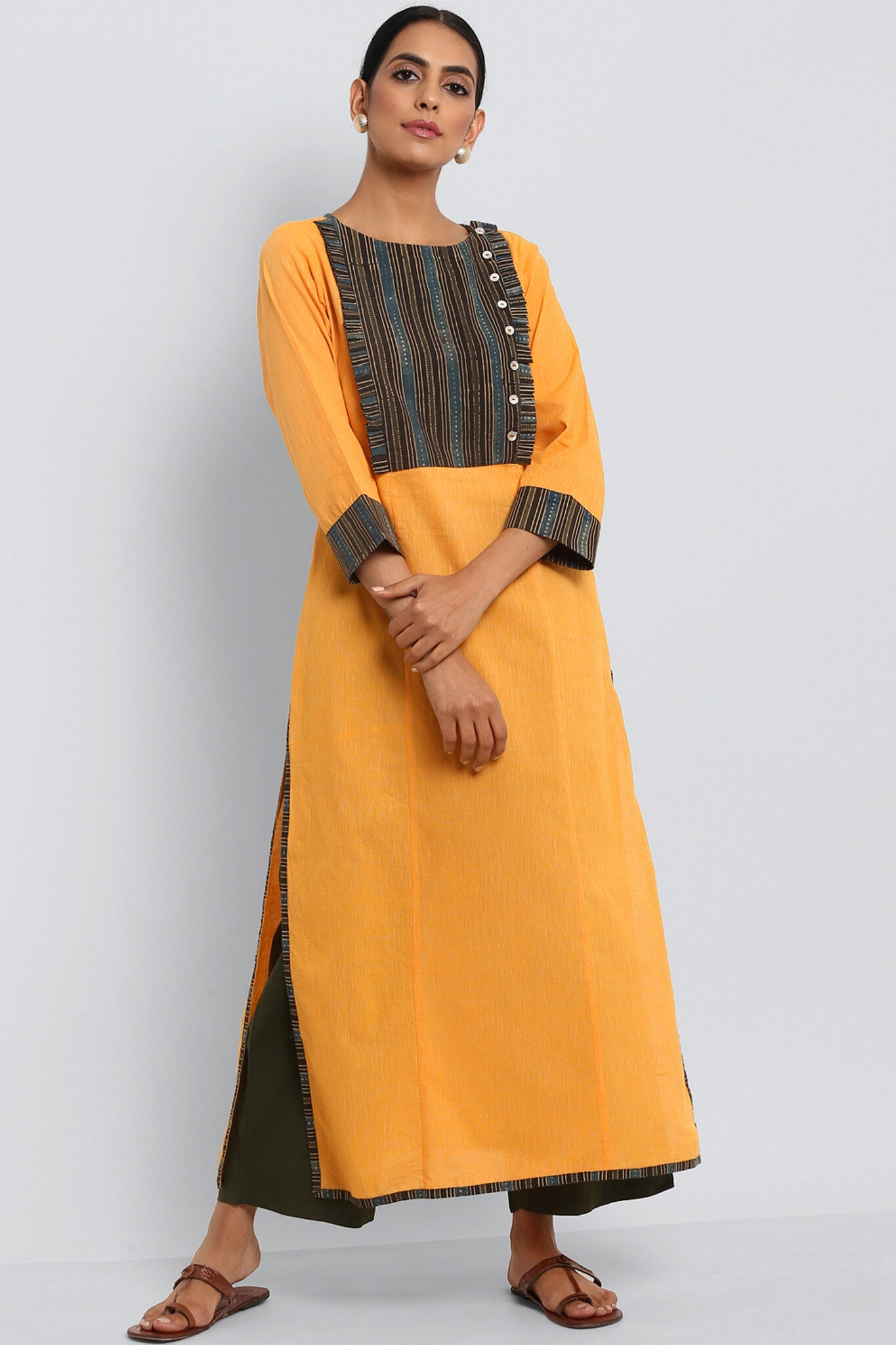 SIDE POTLI LONG KURTA - MARIGOLD & COFFEE