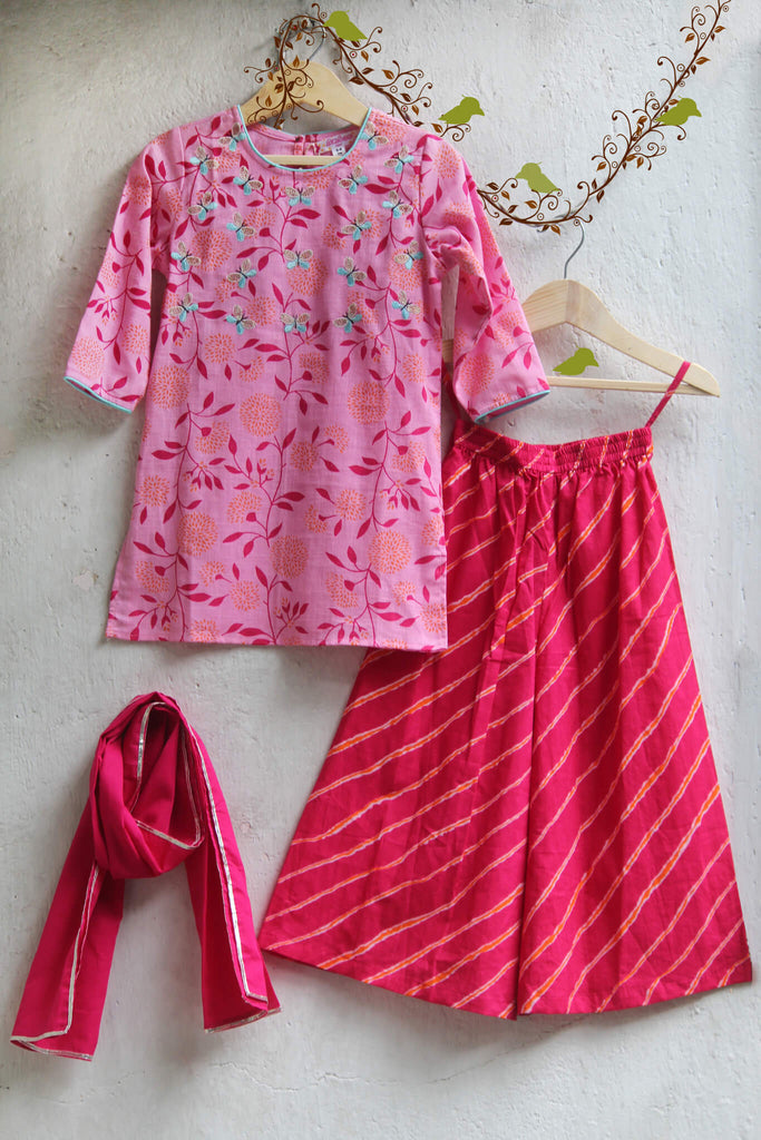 kidswear - Pink Kurti with Butterfly and Pink Palazzo with Dupatta