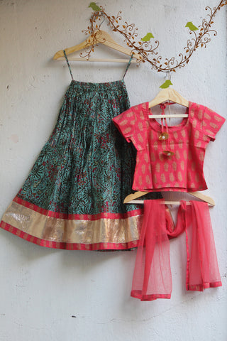 kidswear - mehendi green lehenga with pink top & pink net dupatta