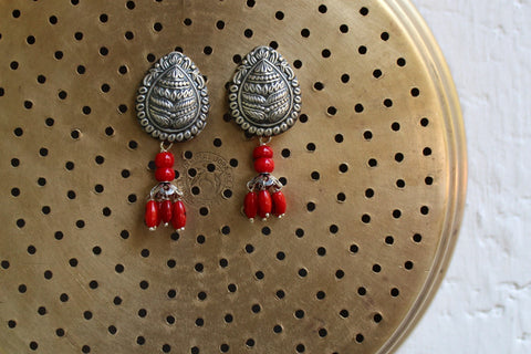 silver jewelry - tulsi & red beads