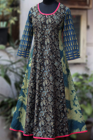 a-line anarkali - twirling vines & the indigo clay