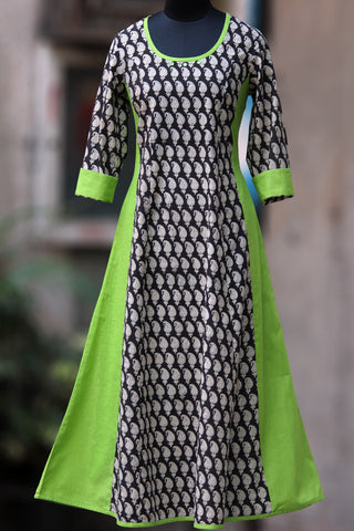 striped anarkali - monochrome & lime green