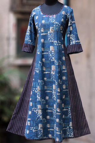 striped anarkali - indigo mosaic & pebble grey