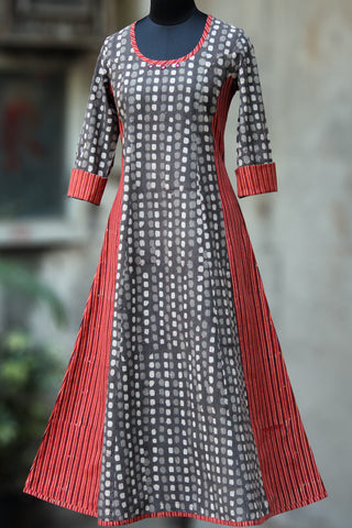 striped anarkali - grey skies & dusky orange