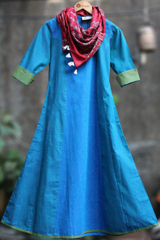 anarkali - turquoise blue & sea green