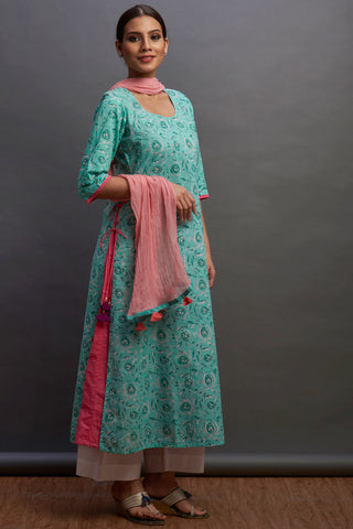 layered long kurta - caribbean & button rose