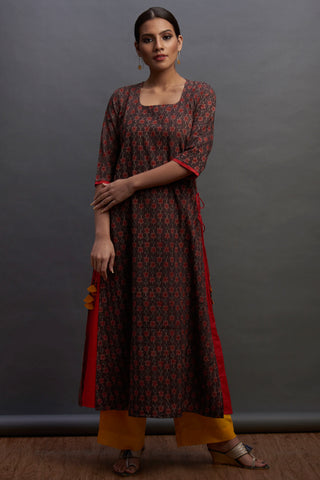layered long kurta - mini rosa & cinnamon