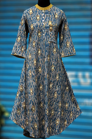 long kurta - indigo & yellow fish