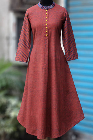 long kurta - red earth & yellow dollops