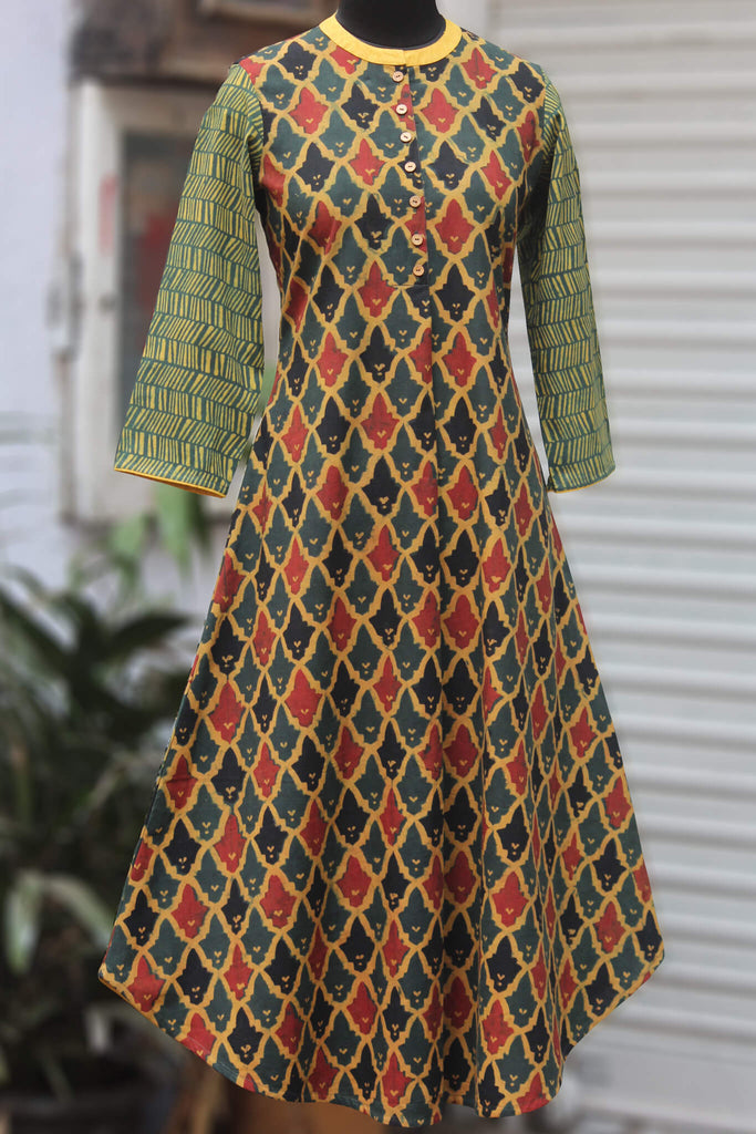 ajrakh long kurta - vintage lamp & the radiance
