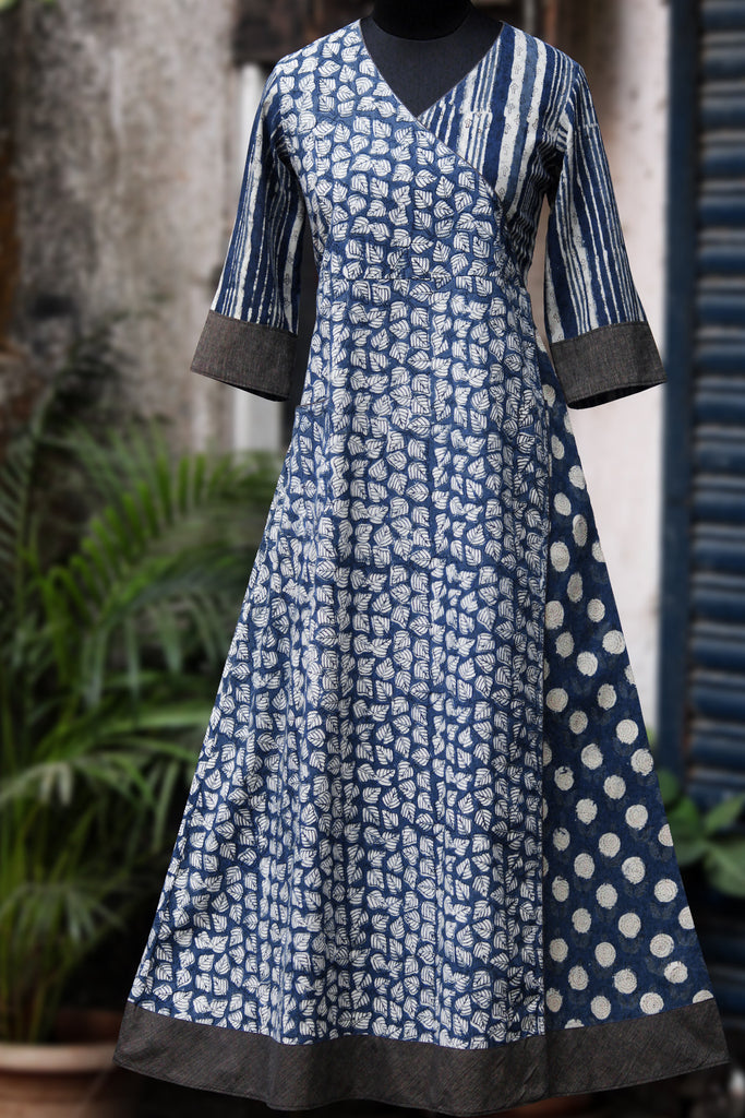 anghrakha dress - indigo night & winter jasmine