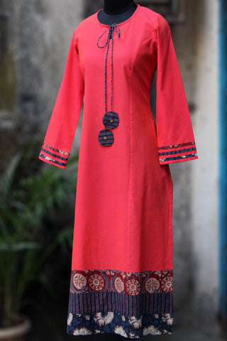 long kurta in stanza - peach bliss & the bands