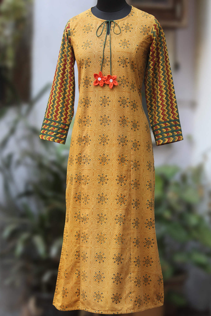 long kurta - ochre ripples & chevron