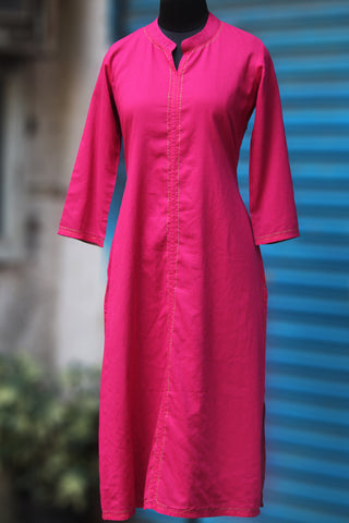reversible long kurta - rani pink & coffee