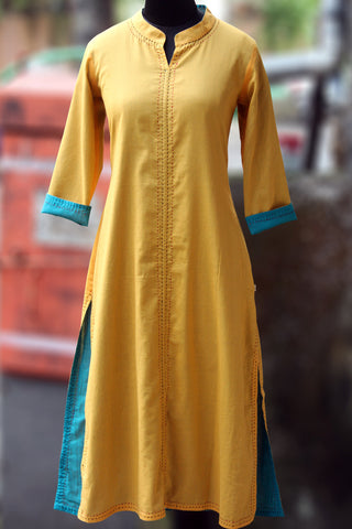 reversible long kurta - canary & cerulean blue