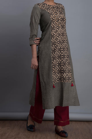 panelled long kurta - matrix & the kaleidoscope