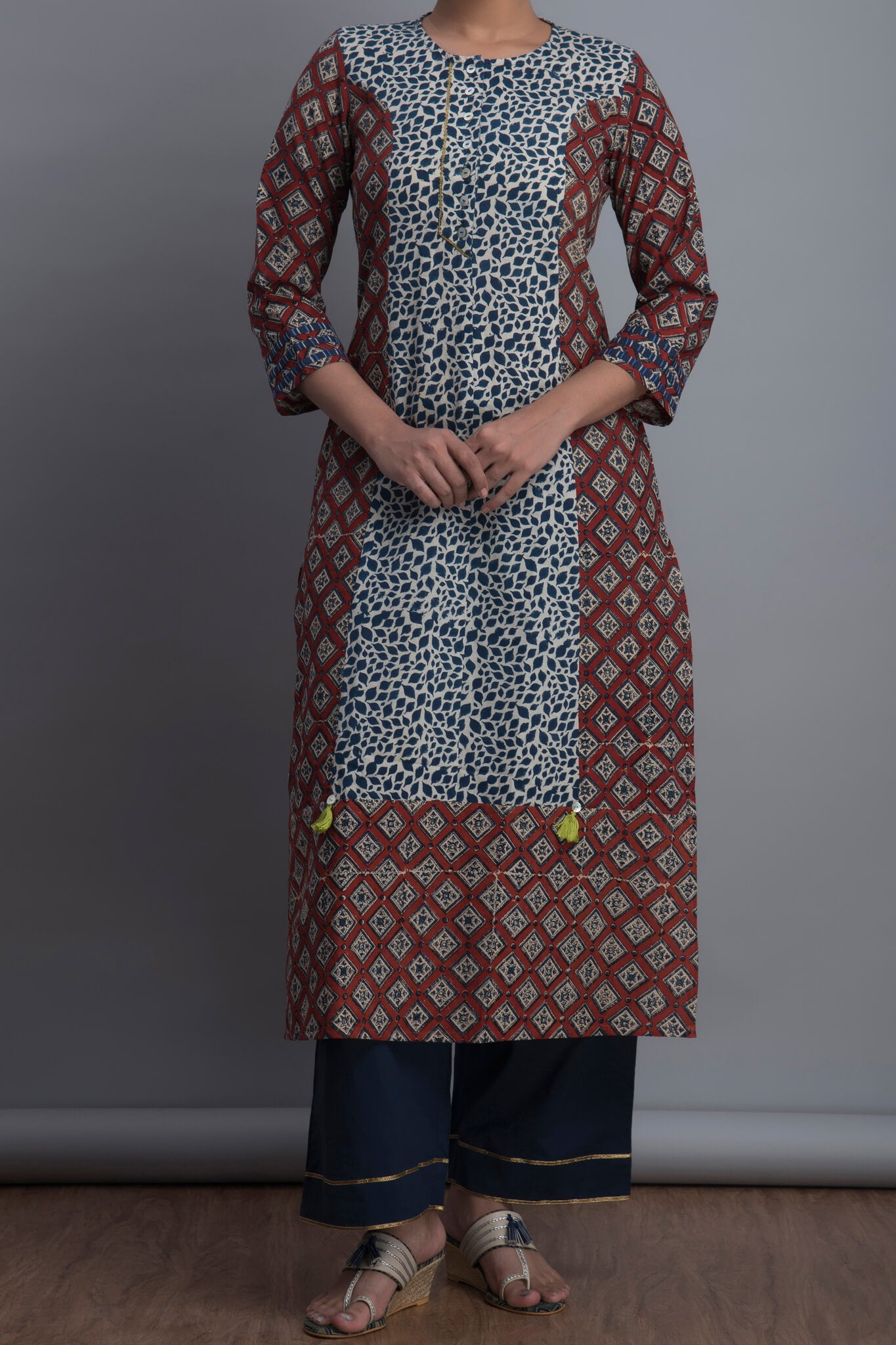 panelled long kurta - indigo foliage & the city