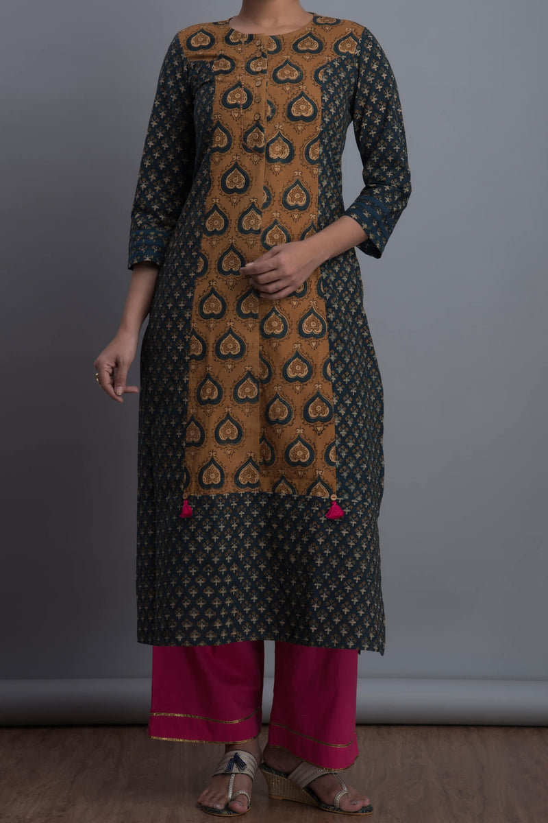 panelled long kurta - peepal & pollen