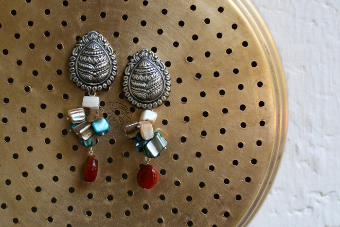 silver jewelry - tulsi & multi colour beads