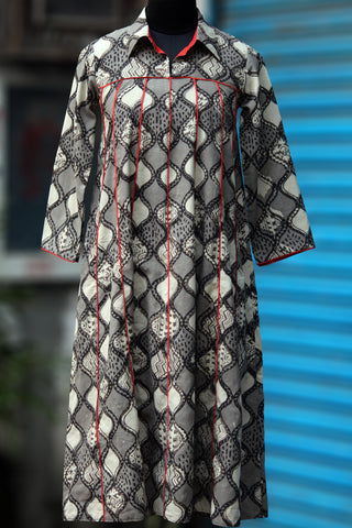 swing dress - grey leheriya & orange fins
