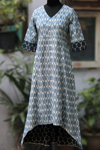 ikat asymmetrical dress - snow flurries & pine cones