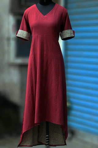 asymmetrical dress - marsala khadi & checkers