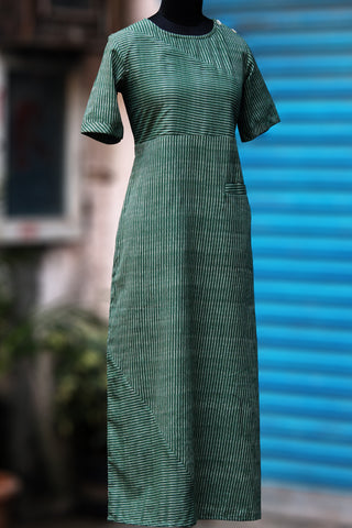 dress - juniper green & ikat
