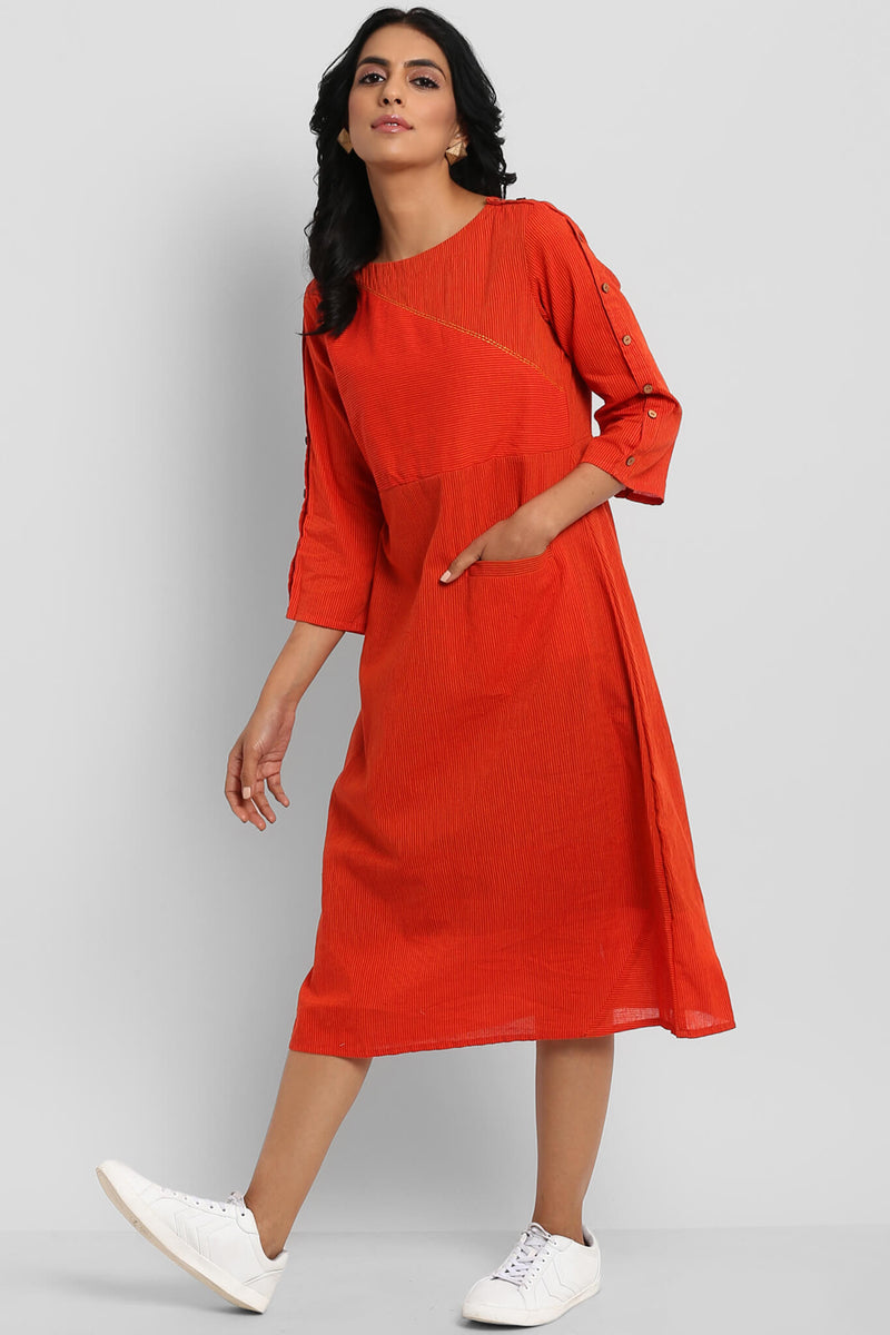 MANGALGIRI COTTON DRESS - MANDARIN & STRIPES
