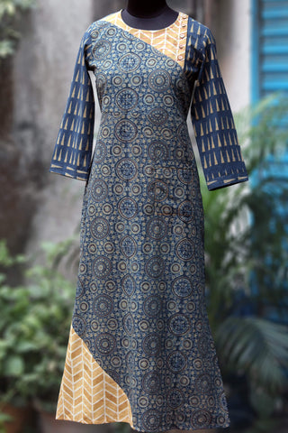 long kurta - indigo halo by the golden trail