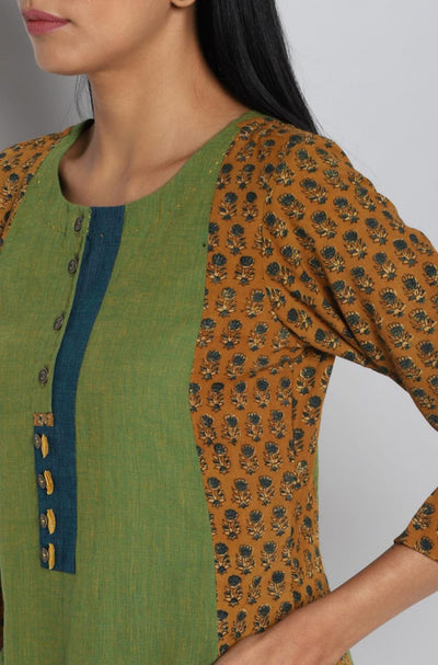 The Ladle Placket A-line - ochre & green