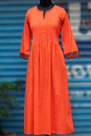 long kurta - sun-kissed orange & shimmer