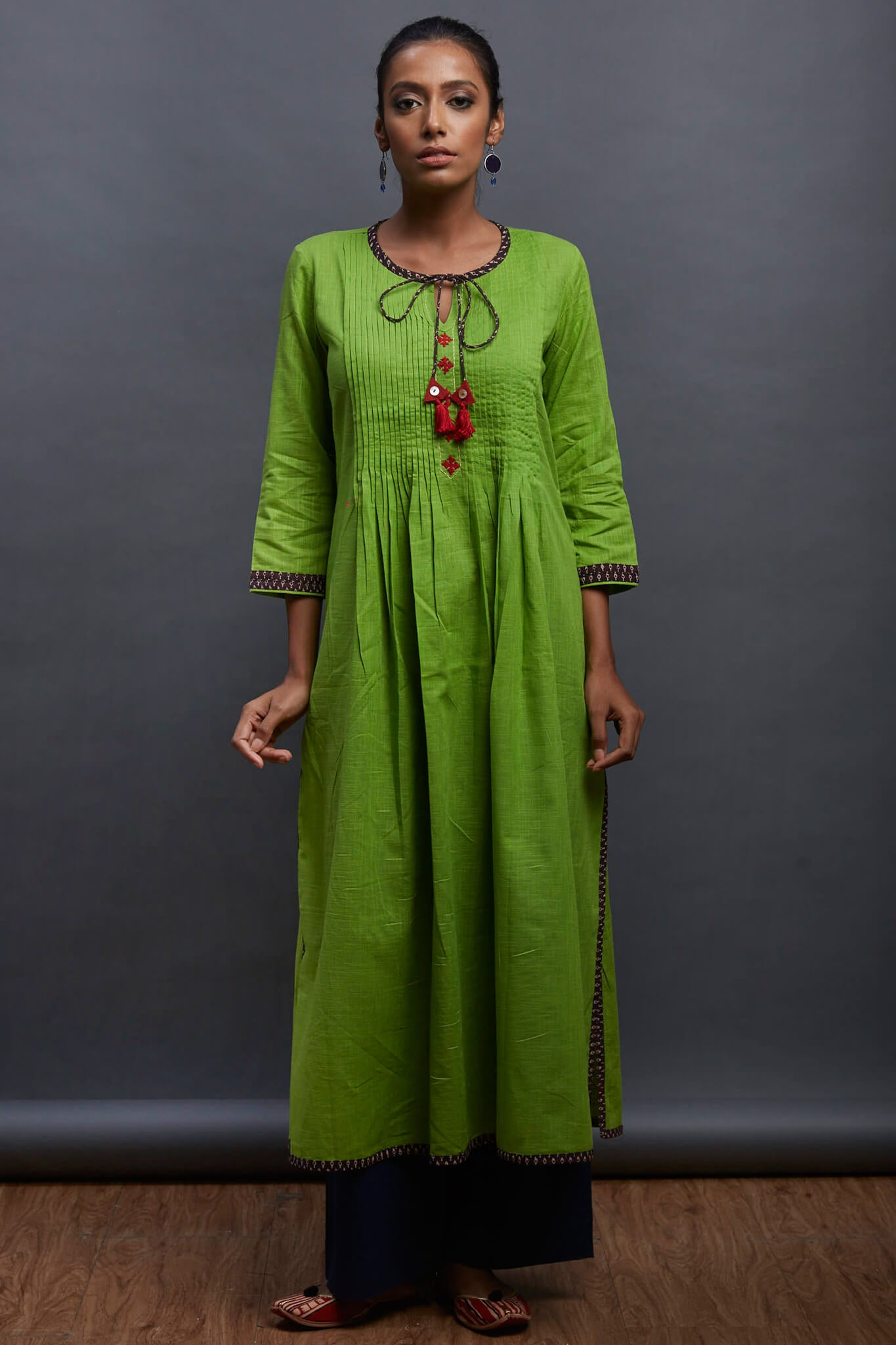 pintucked long kurta - peace & jingle