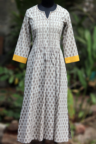 long kurta - misty grey & mustard