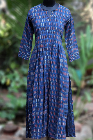 long kurta - deep indigo & pea pods