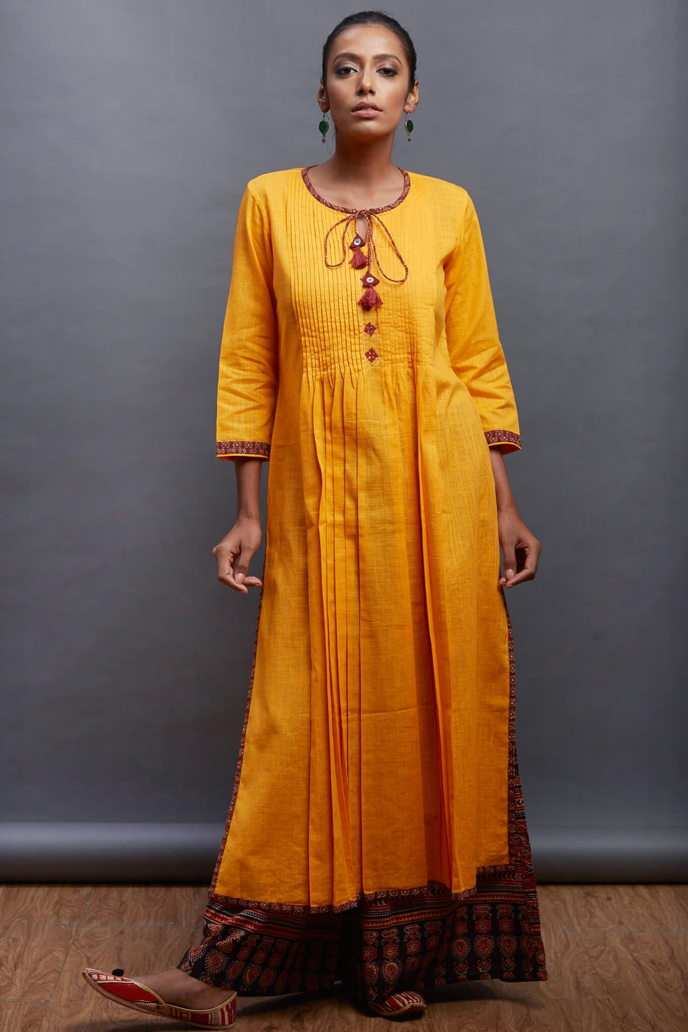 pintucked long kurta - spice & marigold