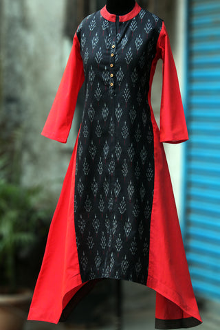 asymmetrical kurta - midnight ink & the peach bloom