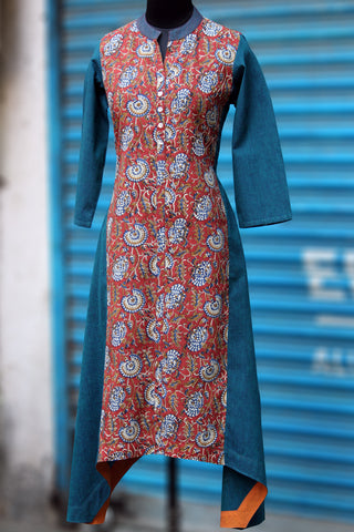 asymmetrical kurta - lotus blossom & the blue river