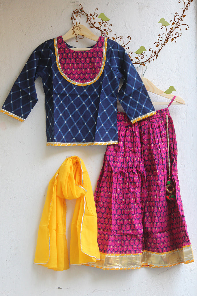 kidswear - blue pink lehenga with blue top & yellow dupatta