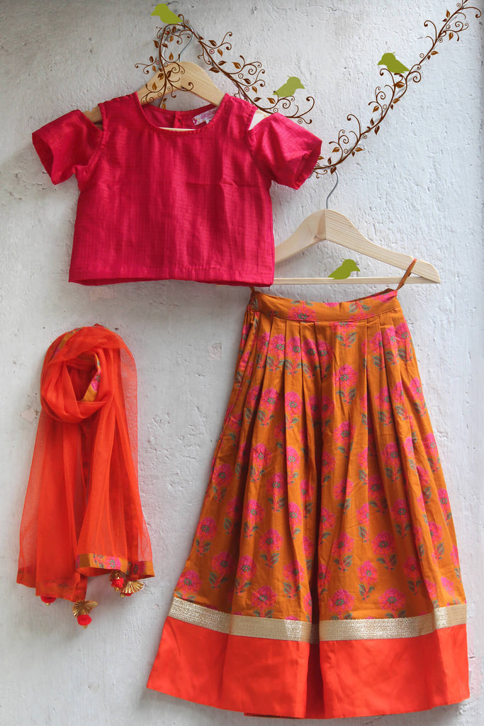 kidswear - Orange Floral Lehenga with Orange Pink Top and Dupatta