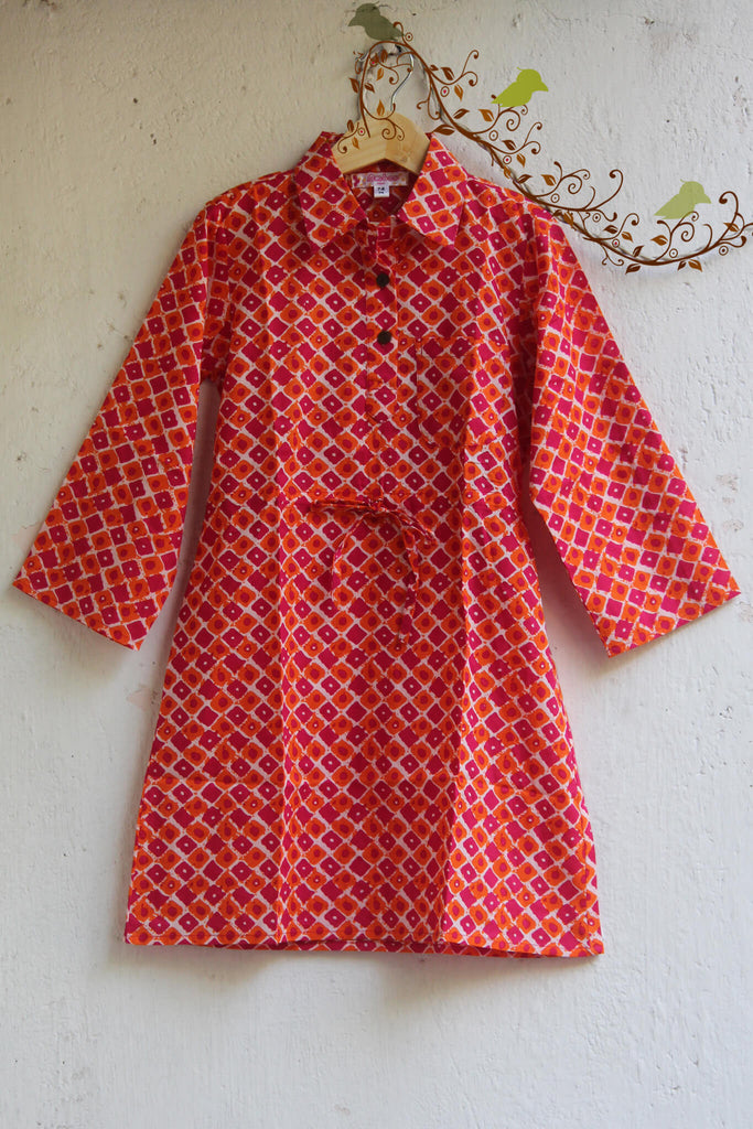 kidswear - pink shirt dress