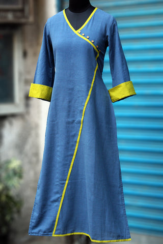 kimono style long kurta - blue skies & lime strings