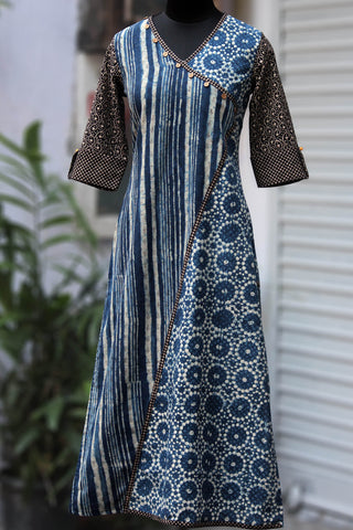 cross-over long kurta - dreamy sonnet & the indigo sitara