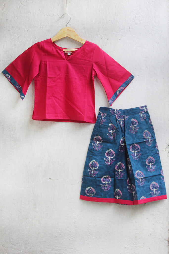 kidswear - blue culotte with pink top
