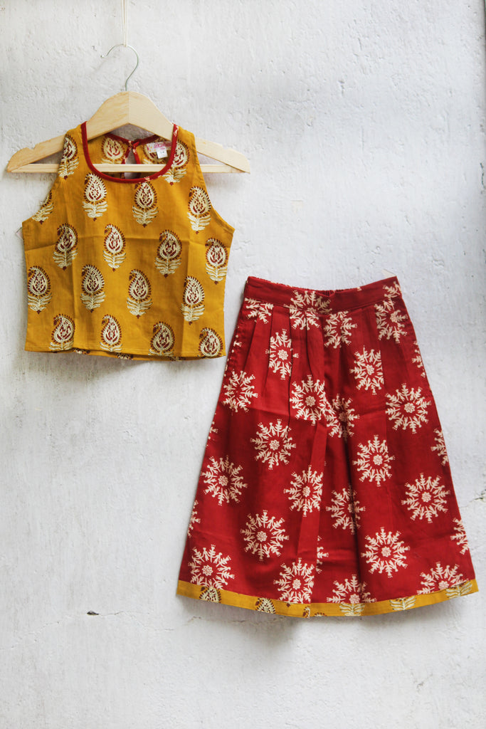 kidswear - brown culotte with mustard top