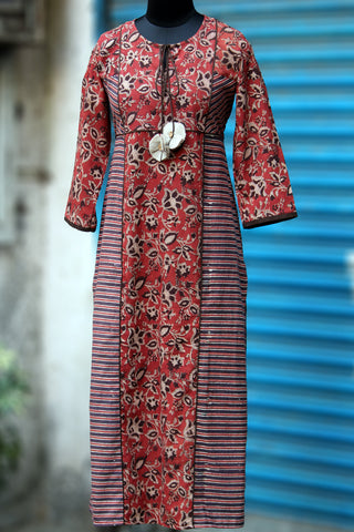 long kurta in full bloom - sombre red & strings