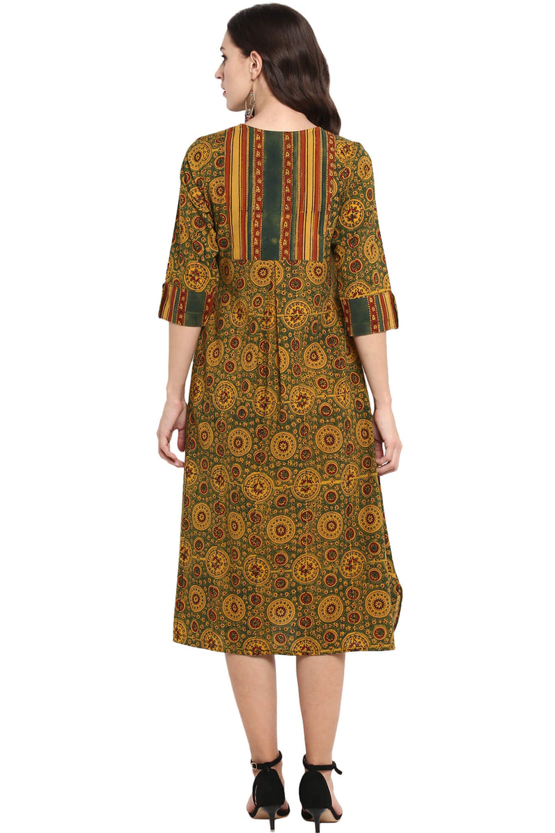 Yellow green red ajrakh button down apple cut kurta dress