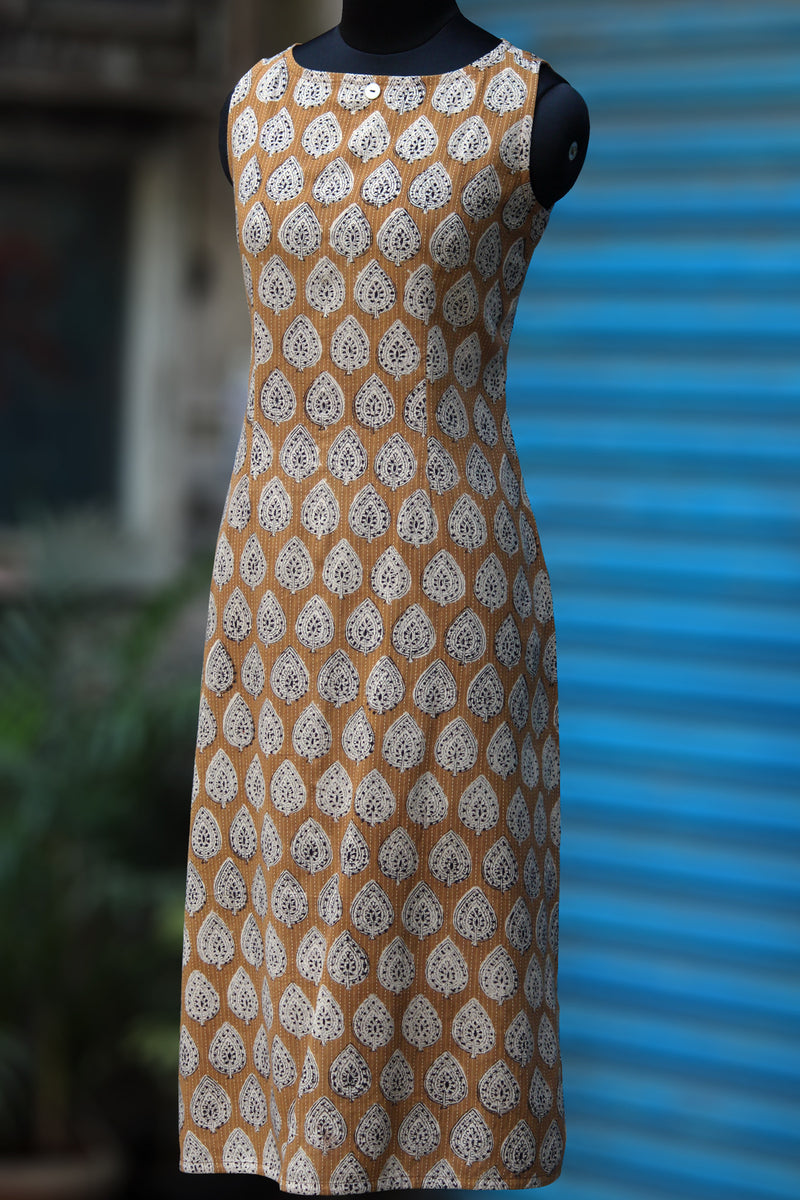 jacket & dress - brown kantha & mono checks