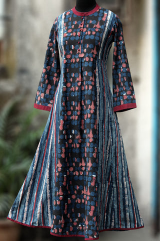 a-line anarkali - indigo splash & trails